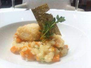 Rissotito de carbassa violí amb bacalla...._Flamant