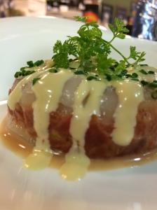 Granja Elena_Tàrtar de tomàquet amb sashimi de vieires